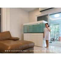 ขาตู้ปลาเฟอร์นิเจอร์ (ฐานวาง) รุ่น Smooth Plus 60x24 inch. H:80 cm. สีขาว พร้อมตู้กระจกและกรอบด้านบน